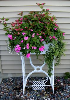 old sewing machine planter