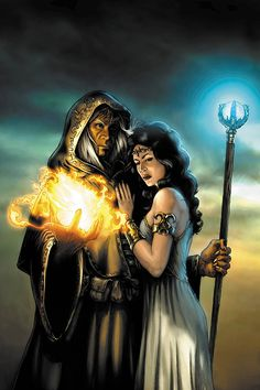 Raistlin and Crysania by Jeremy Roberts