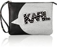 Karl Lagerfeld + tokidoki faux leather, patent and glitter-finish clutch at ShopStyle