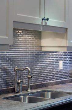 """Will You Allow These 30 Gorgeous Backsplashes To Inspire You?: Kitchen Backsplash Ideas - Horizontal 1""""x2"""" Subway Tiles"""