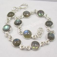 .925 Sterling Silver Real Fiery LABRADORITE Simple Lovely Bracelet 8 1/8 Inches #ChainLink