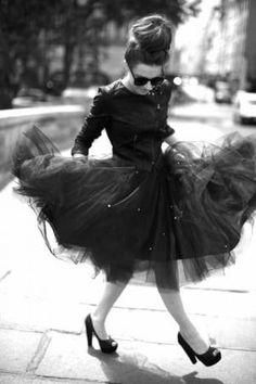 I love a tutu dress with a nice black leather jacket.