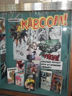 Graphic Novels display at Jesmond Library...love this display. It would take a bit of work on the computer.