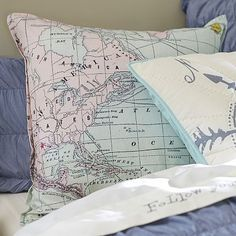 Junk Gypsy Adventure Map Euro Pillow Cover $59 Visit bit.ly/junkgypsycollection Or call 1-866-472-4001 to pre-order this item.