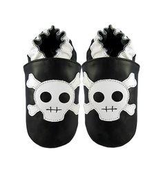 Elk kids skull baby shoes, leather