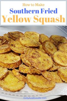 "You don't have to ""deep-fry"" squash to call it Southern-Fried. I'll show you how to fry yellow squash without a lot of oil. Whether you call it yellow squash or summer squash, I call it yummy! Fried Squash Recipes, Yellow Squash Recipes, Veggie Recipes, Cooking Recipes, Recipe For Fried Yellow Squash, Dinner Recipes, Squash Fries, Oven Fried Squash, Veggie Fries"