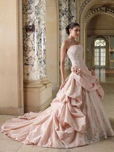 """""""Courtney"""" strapless wedding gown in pink from David Tutera for Mon Cheri (Style: 212243)."""