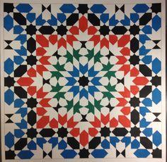 4 fold zellij pattern colored with speedball ink. #islamicart…