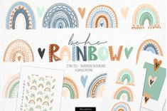 Boho rainbow clipart by Skliarova on Mountain Illustration, Tree Illustration, Gold Watercolor, Watercolor Flowers, Rainbow Clipart, Renaissance Paintings, Kawaii, Creative Cards, How To Introduce Yourself