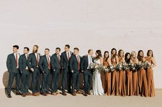 Downtown Phoenix Wedding at The Ice House - the perfect fall color scheme and bridesmaid dresses for a fall Arizona wedding. The Orange Wedding Color palette was seen in the burnt orange bridesmaid dr Burnt Orange Bridesmaid Dresses, Burnt Orange Weddings, Orange Wedding Colors, Bridesmaid Dress Colors, Fall Wedding Colors, Bridesmaid Bouquets, Bridal Bouquets, Bridal Party Color Schemes, Champagne Wedding Colors