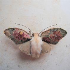 Large moth textile art piece. Unique. Vintage textiles.  Mr. Finch