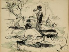 Arthur Shilstone sketch of the Ghost Army digging in after their arrival in Normandy. The Ghost Army was officially known as the 23rd Headquarters Special Troops. From June 1944 to March 1945 it staged 20 battlefield deceptions, beginning in Normandy and ending along the Rhine River. The deceivers employed an array of inflatables (tanks, trucks, jeeps, airplanes), sound trucks, phony radio transmissions and even playacting to fool the enemy.