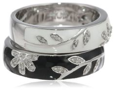 Sterling Silver Black White Enamel Floral Diamond Stack Ring (1/10 cttw, I-J Color, I2-I3 Clarity), Size 8 | Your #1 Source for Jewelry and ...