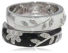 Gold Rings for Women, Sterling Silver Black White Enamel Floral Diamond Stack Ring