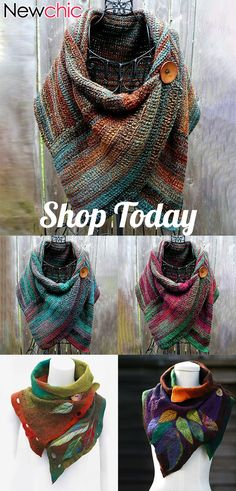 Women's Casual Multicolor Stripes Round Neck Scarves & Shawls - Stirnband Stricken Crochet Wrap Pattern, Crochet Poncho, Crochet Scarves, Crochet Clothes, Sewing Scarves, Crochet Buttons, Neck Scarves, Womens Scarves, Women's Casual