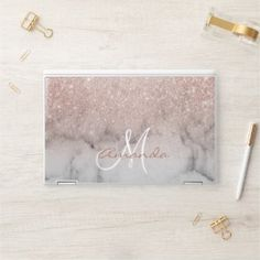 Shop Rose Gold Glitter Ombre Marble Monogram HP Laptop Skin created by ColorFlowCreations. Rose Gold Laptop, Camouflage, Hp Laptop Skin, Pink Marble, Rose Gold Glitter, Sticker Shop, Initials, Vibrant Colors, Monogram