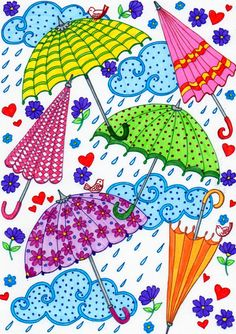 Best 11 immagin Textures on umbrella – SkillOfKing. Art Drawings For Kids, Easy Drawings, Art For Kids, Umbrella Painting, Umbrella Art, Arte Elemental, Spring Coloring Pages, Baby Art, Diy Arts And Crafts
