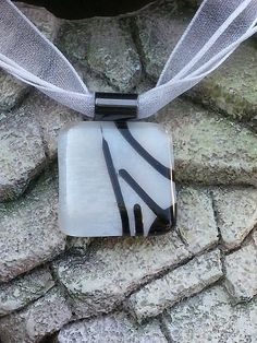 Fused Glass Pendant - Pearl White with a Black Design - Fused Glass Jewelry