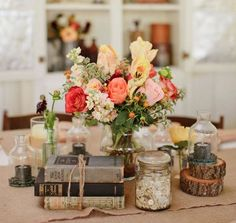 rustic wedding tablescape with burlap