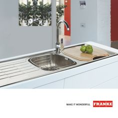 The Franke Cascade double end bowl inset sink produced in South Africa. This monoblock one-piece pressed sink has a proven track record of consistent quality and performance. Inset Sink, Stylish Kitchen, Kitchens, Touch, Design, Mirror, Ideas, Products, Cuisine
