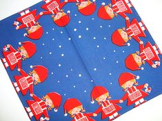 Retro Christmas danish textile napkin - AASE and PREBEN JANGAARD. #trendyenser #retro #danishdesign #jangaard #aaseogprebenjangaard #christmastextile #tekstiltryk #jul #juletekstil #juleserviet. From www.TRENDYenser.com. SOLGT/SOLD.