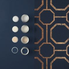 Sashiko Navy takes rich, textured navy substrate and embellished with copper metallic geometric detailing. Navy Wallpaper, Blue Wallpapers, Colorful Wallpaper, Bedroom Wallpaper, Navy And Copper, Copper Metal, Bedroom Paint Colors, Paint Colours, Graham Brown