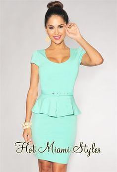 $59.99 Mint Belted Cap Sleeves Peplum Dress