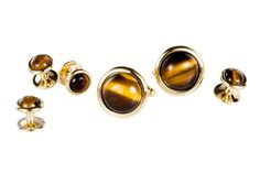 LINKSWITHU Men's Accessories: Round Gold Tiger Eyes Tuxedo Cufflinks and Studs Set, check it out! They are watching you!