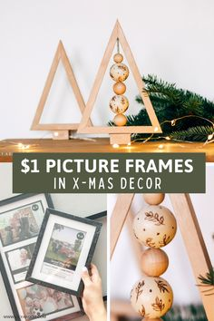 Here's how to transform dollar tree picture frames on a budget! take apart and glue together then added beads! #dollartreedecor #dollartreechristmas Diy Christmas Room, Dollar Tree Christmas, Christmas Store, Christmas Crafts For Kids, Christmas Themes, Beaded Christmas Decorations, Homemade Christmas Decorations, Diy Party Decorations, Winter Ideas