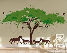 Wall Decal Tree Wall Mural Horses Decal Vinyl Wall Decor- African tree and horses (160inch W )- Designed by Popdecors via Etsy