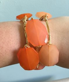 Ombre Orange Bangle Stack - Wire Wrapped Bracelet - Geo Beads - Burnt Orange, Coral Peach - Bourbon and Boweties Inspired by…