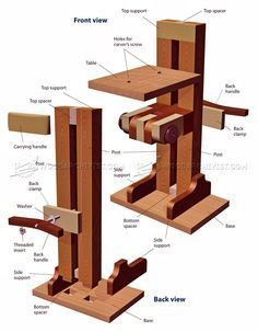 Build Your Own Carving Stand - Wood Carving Patterns and Techniques Holzschnitzen , Build Your Own Carving Stand - Wood Carving Patterns and Techniques Build Your Own Carving Stand - Wood Carving Patterns and Techniques. Wood Carving Tools, Wood Carving Patterns, Carving Designs, Wood Tools, Wood Patterns, Craft Patterns, Woodworking Lessons, Woodworking Magazine, Popular Woodworking