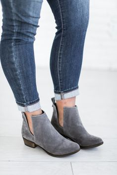 Mindy Mae's Market - $49.99 Austin Booties in grey The best way to add a dash of magic to your favorite neutral outfit is to throw on some gorgeous colored booties! Runs TTS