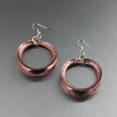 amazing handmade copper jewelry / Fold Formed Copper Hoop Earrings by ILoveCopperJewelry.com