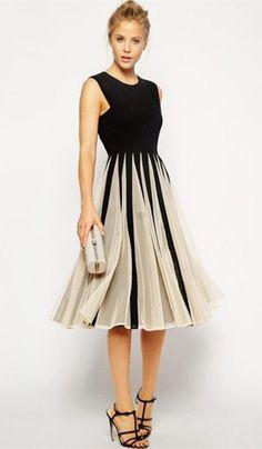 Pleated Color Spliced Dress