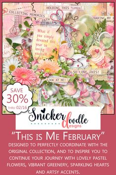 Easily scrap the things that capture your heart and passion, with lovely pastel flowers, vibrant greenery, sparkling hearts and artsy accents. #SnickerdoodleDesigns #digitalscrapbooking #ThisIsMeFeb https://snickerdoodledesignsbykaren.com/shop/index.php?main_page=advanced_search_result&search_in_description=1&keyword=sd-tim-feb