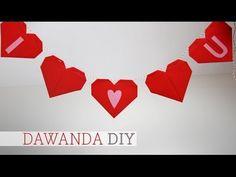 DaWanda DIY: Wimpelkette mit Origamiherzen - YouTube