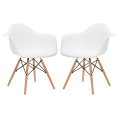 Set of 2 - Eames Style Molded Plastic Dowel-Leg Armchair (DAW) Natural Legs