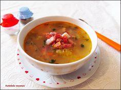 Supă de salată cu bacon afumat Supe, Cheeseburger Chowder, Bacon, Food, Essen, Meals, Yemek, Pork Belly, Eten