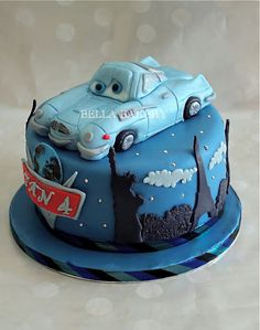 Cars 2 birthday cake, needs a smaller and better Finn McMissile but the rest is exactly what I want to try.