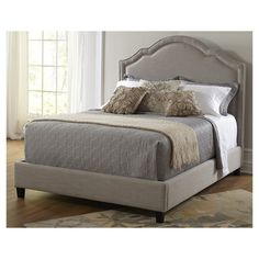 Shaped Upholstered Bed in Taupe