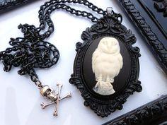 Barn Winter White Owl Cameo Necklace.