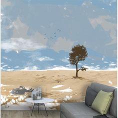 Tapisserie salon paysage marin bleu beige modèle déco original Détente