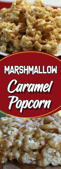 Marshmallow Caramel Popcorn #dessert #dessertrecipes #food #foodphotography #desserttable #appetizer