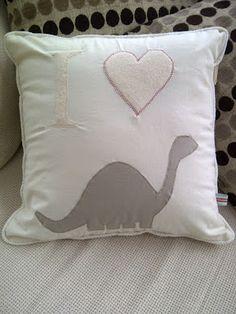 'I love dinosaurs' a cushion I made for my boyfriend