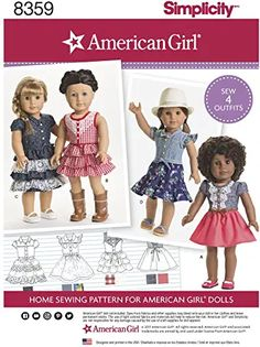 American Girl Dress, American Girl Clothes, Girl Doll Clothes, Girl Dolls, American Dolls, Dress Clothes, Baby Dolls, Doll Sewing Patterns, Simplicity Sewing Patterns