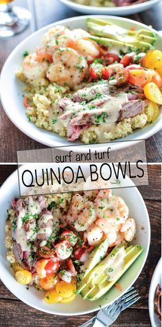 Surf and Turf Quinoa Bowls with Roasted Garlic Vinaigrette are a quick and easy weeknight dinner solution!   www.cookingandbeer.com