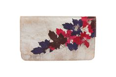 Devina Juneja Autumn Cutwork clutch - hand textured leather with hand painted maple leaves - visit us at www.devinajuneja.com