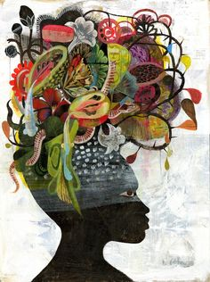 African Beauty, picture from the series Flowerhead by Olaf Hajek, LUMAS Artist ✓ Art And Illustration, African American Art, African Art, Art Amour, Street Art, Art Tribal, Inspiration Art, Arte Popular, African Beauty