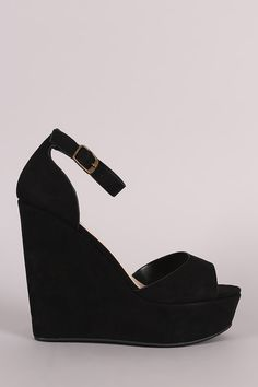 Bamboo Suede One Band Platform Wedge